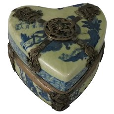 19th Century Chinese Porcelain and Silver Plate Heart Shaped Trinket Box