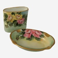 Czechoslovakia Porcelain Union Hand Painted Roses Ashtray and Match Holder c 1931