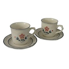 Brambleberry by Hearthside Cumberland Stoneware Cups and Saucers - set of 2