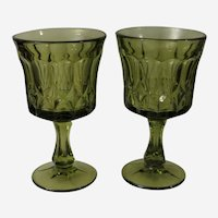 Noritake Perspective Green Glass Goblets