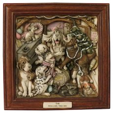 Harmony Kingdom Picturesque Signed Limited Edition Tile The Howling Tree Inn Featuring Dogs