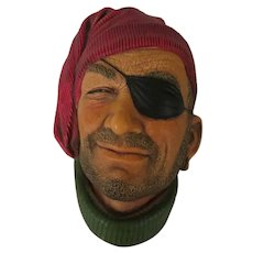 Bossons Smuggler Chalkware Wall Mask or Head Plaque aka Pirate
