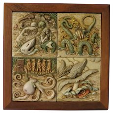 Harmony Kingdom Four Framed Tiles of Sea Creatures from the Noah's Ark Picturesque Series