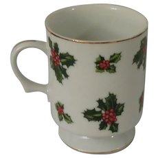 Lefton China Christmas Holly Pedestal Mug