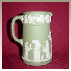 Wedgwood Green Jasperware Creamer Jug with Classical Scenes