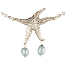 "DAVID IVER Original Sterling Silver Genuine Aquamarine Pearl Necklace ""Old Man Starfish"" with Chain"