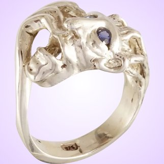 "DAVID IVER Original Genuine Blue Sapphire Sterling Silver ""Rasta Man Ring"" Ring Tribute to Bob Marley"