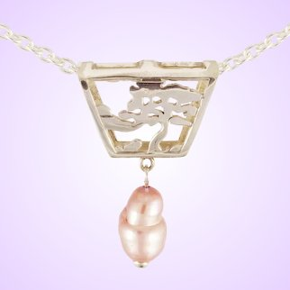 "DAVID IVER Original Sterling Silver ""Arts & Crafts Landscape"" Pendant with Pink Freshwater Pearl on Chain"