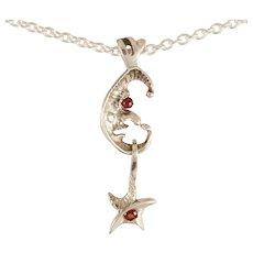 "DAVID IVER Original Genuine Garnet Sterling Silver ""Moon & Star"" Pendant on 18"" Cable Chain"