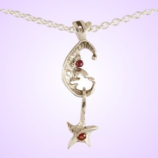 "DAVID IVER Original Genuine Garnet Sterling Silver ""Moon & Star"" Pendant on 18"" Cable Chain"