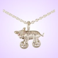 """DAVID IVER Original Genuine Pink Tourmaline Sterling Silver """"Harley the Hog"""" Pendant on 18"""" Cable Chain"""