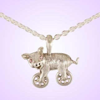 "DAVID IVER Original Genuine Pink Tourmaline Sterling Silver ""Harley the Hog"" Pendant on 18"" Cable Chain"