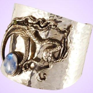 "DAVID IVER Original Labradorite & Peridot Sterling Silver ""Preparing for Motherhood"" Hand Hammered Cuff Bracelet"