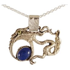 "DAVID IVER Original Lapis & Peridot Sterling Silver ""Preparing for Motherhood"" Pendant Slide with 18"" Chain"