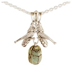 "DAVID IVER Original Sterling Silver Scarab ""Cleopatra's Grasshopper Duet"" Pendant with 18"" Cable Chain"