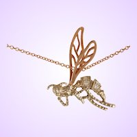 "DAVID IVER Original Rose & White 14k Gold Diamond ""Wasp in Flight"" Pendant with 14k Gold Chain"