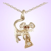 "DAVID IVER Original Rose & White 14k Gold Diamond ""LOVE"" Mouse with Cheese Pendant on 18"" 14k Gold Cable Chain"