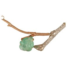 "DAVID IVER Original Rose & White 14k Gold Diamond & Carved Genuine ""Emerald Leaf & Twig"" Pendant 14k Gold Attached Chain"