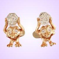 "DAVID IVER Original Rose & White 14k Gold Diamond ""Norway Troll with Diamond Boulder"" Cufflinks"