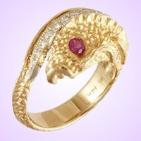 "DAVID IVER Original Yellow and White 14k Gold Ruby & Diamond ""Japanese KOI Embrace"" Ring"