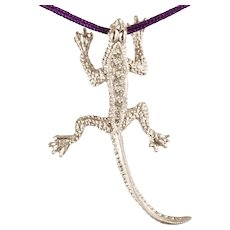 "DAVID IVER Original White Gold 14k Diamond Handcrafted ""Fly Hunting Lizard"" Pendant (No Chain)"