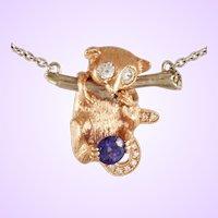 "DAVID IVER Original Rose & White 14k Gold Diamond & Tanzanite ""Hanging Lemur"" Pendant with 14k  White Gold Chain"