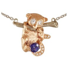 "DAVID IVER Original Rose & White 14k Gold Diamond & Tanzanite ""Hanging Lemur"" Pendant with 14k  White Gold Chain"