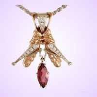 "DAVID IVER Original Rose & White 14k Gold Diamond & Rubellite Tourmaline ""Grasshopper Duet"" Pendant 14k W/G Rope Chain"