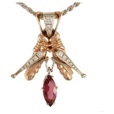 "DAVID IVER Original Rose & White 14k Gold Diamond & Rubellite Tourmaline ""Grasshopper Duet"" Pendant 14k W/G Rope Chain"