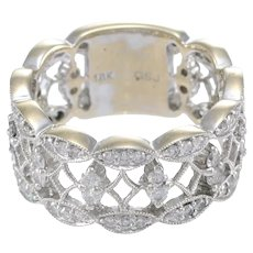 Womens Wide Diamond Lace Wedding Band Ring 18k White Gold Bridal 0.78ctw US 6.00