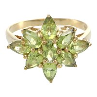 Ladies Star Bust Peridot Ring Pear Oval Shape Cocktail 10k Yellow Gold 1.80ctw