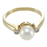 Pearl Diamond Cocktail Band Ring 3 Stone 14k Yellow Gold 0.10ctw US 7.75 7.4mm