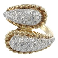 Diamond Ribbed ByPass Ring 14k Yellow Gold 1.00ctw Pave Womens Cocktail Band 6.5