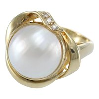Large Pink Mabe Pearl Diamond Cocktail Ring 14k Yellow Gold Womens 13mm US6.5