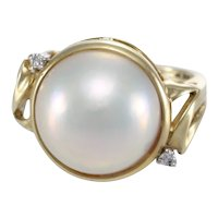 Large Pink Pearl Diamond Cocktail Ring 14k Yellow Gold Women 14mm Vintage Estate