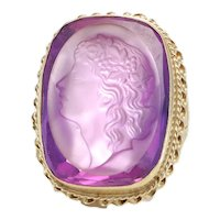 Large Amethyst Lady Intaglio Cocktail Ring 14k Yellow Gold Vintage Estate