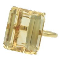 Large Citrine 18k Yellow Gold Womens Cocktail Ring 18k Yellow Gold 18ctw