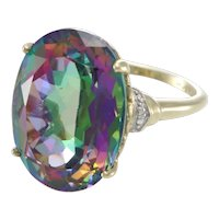 Large Oval Mystic Topaz Ring Cocktail Womens 10k Yellow Gold 17.12ctw