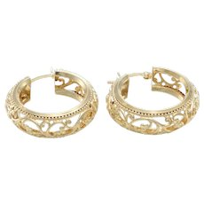 Floral Filigree Hoop Earrings 14k Yellow Gold Fine Vintage Art Deco Comfortable