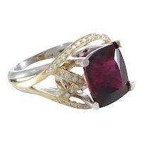 Pink Tourmaline Diamond Cocktail Ring Womens 14k Yellow Gold Vintage 8.45ctw