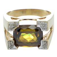 Yellow Imperial Topaz Diamond Ring Womens Cocktail 14k Yellow Gold 6.80ctw