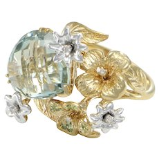 Pear Amethyst Diamond Cocktail Ring Chunky Flower Garden 14k Yellow Gold