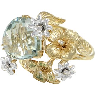 Pear Amethyst Diamond Cocktail Ring Chunky Flower Garden 14k Yellow Gold