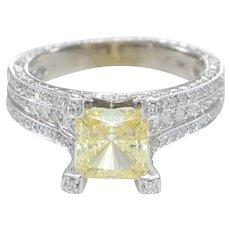 4.36CTW Princess Cut Yellow Diamond Zircon Pave Engagement Ring 14k White Gold