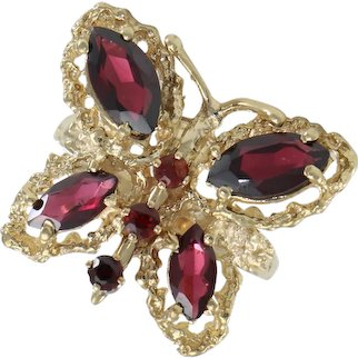 3CTW Marquise Garnet Butterfly Cocktail Ring 14k Yellow Gold