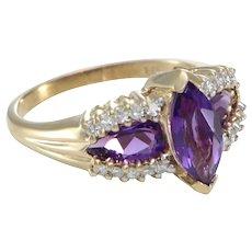 2.40CTW Marquise Pear Amethyst Diamond Ring 14k Yellow Gold