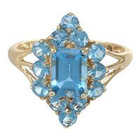 2.20CTW Blue Topaz Cocktail Ring Womens 14k Yellow Gold Vintage Estate US 7.75