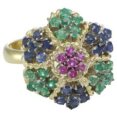 1.47CTW Ruby Sapphire Emerald Ring Flower Cluster 18k Yellow Gold