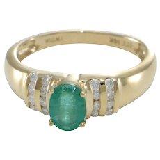 1.08CTW Oval Emerald Diamond Engagement Ring 14k Yellow Gold