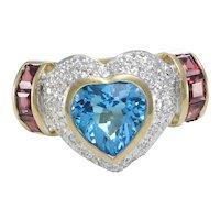 2.9CTW Heart Shape Topaz Garnet Diamond Cocktail Ring 14k Yellow Gold
